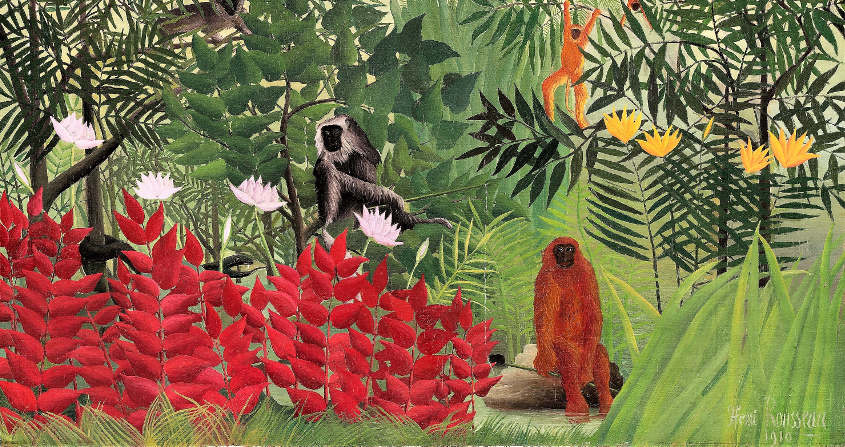 foret tropicale singes serpent - henri rousseau - lamarck - darwin - evolution - encyclopedie environnement