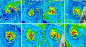 Encyclopédie environnement - cyclones tropicaux - ouragan gonzalo - hurricane gonzalo - eye wall replacement circle