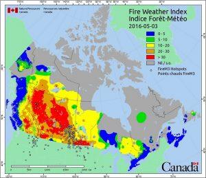 Encyclopedie environnement - feux de vegetation - carte FWI - FWI map - wildfires
