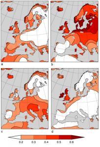 Encyclopedie environnement - prevision saisonniere - Coefficient de correlation temperature saisonniere prevue et temperature saisonniere observee Europe