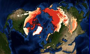 Encyclopedie environnement - permafrost - pergelisol - carte hemisphère nord
