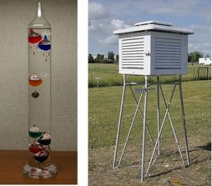 Encyclopédie environnement - pression - thermomètre Galilée abri météorologique - galileo's thermometer