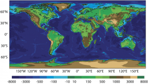 Encyclopedie environnement -modeles biosphere, hydrosphere, cryosphere - reliefs terrestres modele prevision CEPMMT - Terrestrial landforms of continental surfaces and oceans
