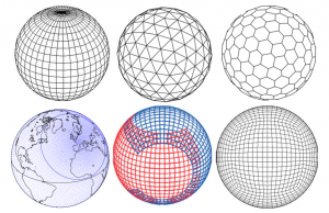 Encyclopédie environnement -prévision météorologique - type de grilles horizontales utilisées par les modèles atmosphériques