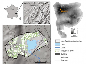 Encyclopedie environnement -pesticides - Le Lac Saint Andre et les vignobles environnants