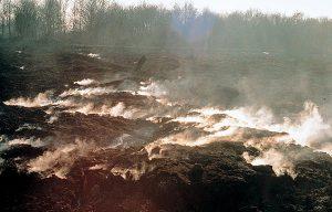 Encyclopédie environnement - tourbière marais - Incendie dans une tourbière de la baie du Mont-Saint-Michel