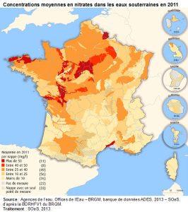 Encyclopedie environnement - nitrates sol - concentration moyenne nitrates eaux souterraines 2011