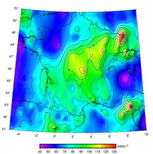 Encyclopedie environnement - geothermie - Carte du flux de chaleur de la France à la surface du sol - map heat flux france ground - paleoclimatic - geothermal energy