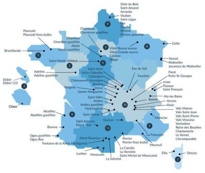 Encyclopédie environnement - eaux minérales - Carte des eaux minérales naturelles en France - map of natural mineral waters in france