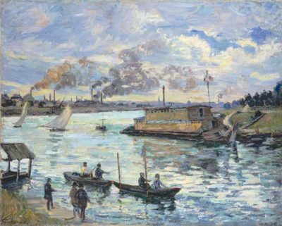 Encyclopédie environnement - pollution atmosphérique air - Armand Guillaumin 1841-1927 River Scene - air pollution atmosphere