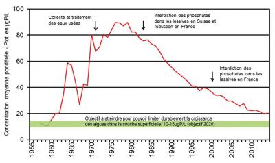 Encyclopédie environnement - pollution phosphore - phosphore total dans les eaux du lac Léman - phosphorus curve in waters lake geneva