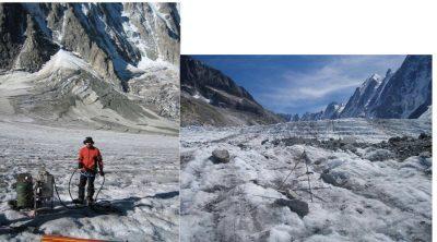 balises en bois glace - glaciers - glaciers montagnes - sonde vapeur - glacier argentiere - encyclopedie environnement - alps - mountain glaciers