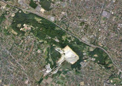 vue aerienne - carriere gypse - cormeilles-en-parisis - val d'oise - encyclopedie environnement - aerial view cormeille en parisis france