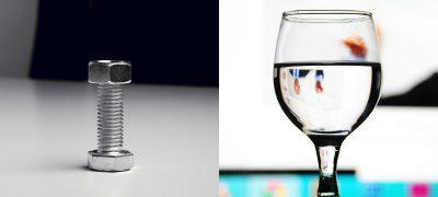 fluides et solides - fluide - solide - eau - verre eau - metal - metal block - water