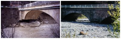 exemples lit fluvial - evolution of river bed consequences on bridge