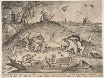 gravure les grands poissons mangent les petits bruegel l'ancien