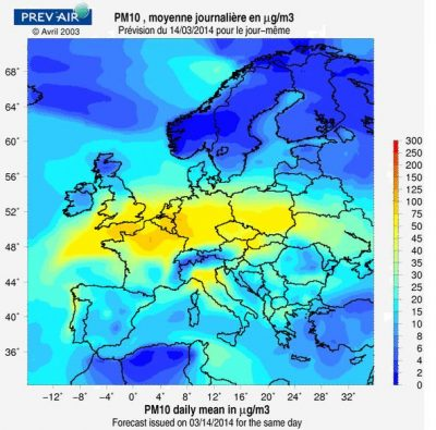 particulate pollutants europe - concentration PM10 europe