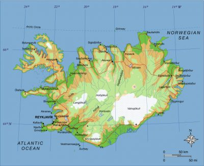iceland map - fissure laki iceland