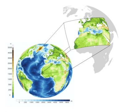 环境百科全书-气候模式-100 km分辨率的全球气候模式和12 km分辨率的欧洲区域模式的地形图和海洋测深图