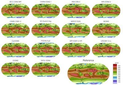 """环境百科全书-气候模式-CMIP6数据库中一组模式模拟的30年平均大气顶部长波辐射的""""历史""""值"""