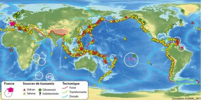tsunamis monde - carte tsunamis monde